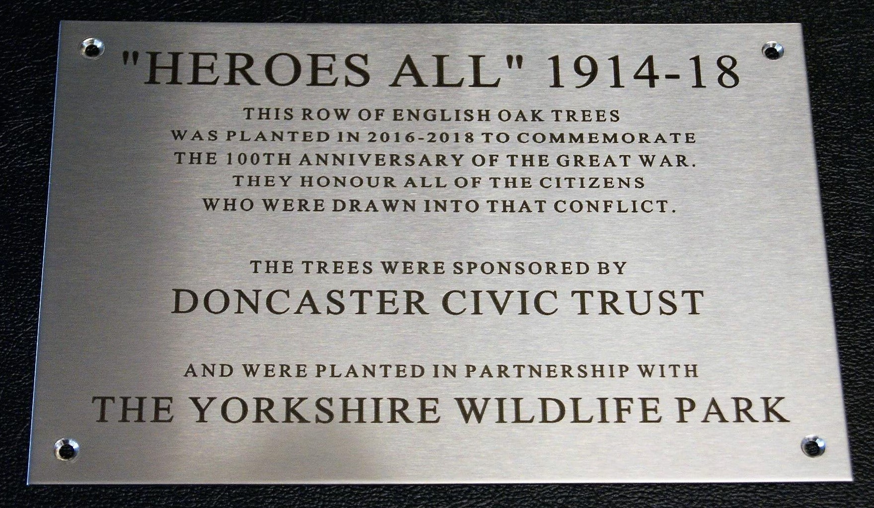 Engraved plaque for trees planted Doncaster Yorkshire Wildlife Park