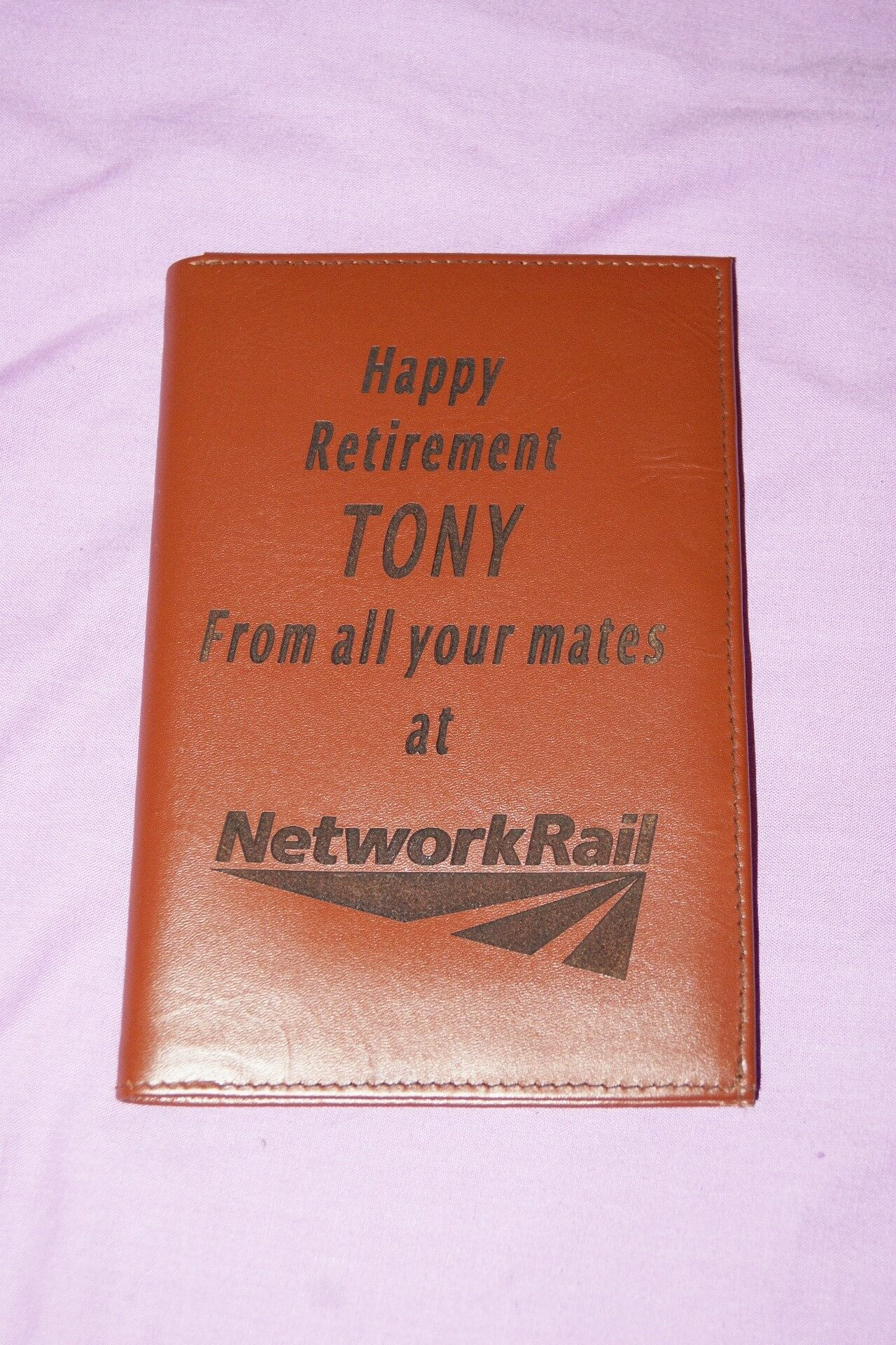 Laser engraved personalised wallet gift