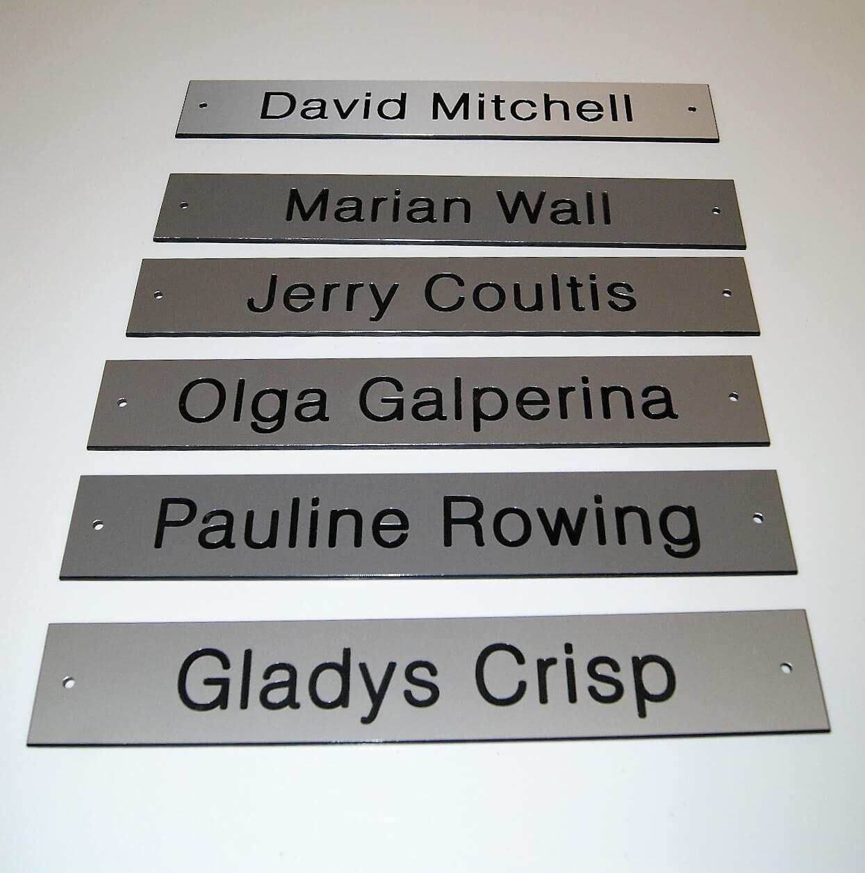 series of engraved nameplates